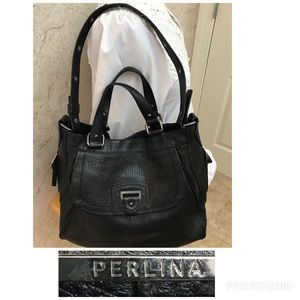 Perlina Black thick pebbled leather bag